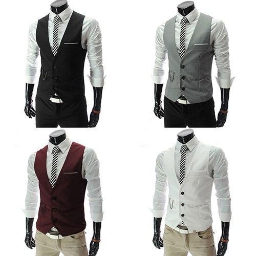 Chemise formelle Business Slim Fit col V solide gilet à simple boutonnage gilet costume gilet nouvelle arrivée gilets nouveaux hommes