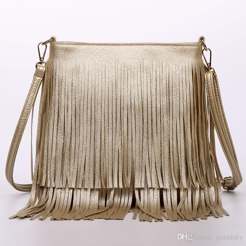 Las mujeres de moda borla de la franja de los bolsos de cuero de la PU bolso de hombro de las señoras de cuero negro Crossbody bolsas Bolsa Feminina A162