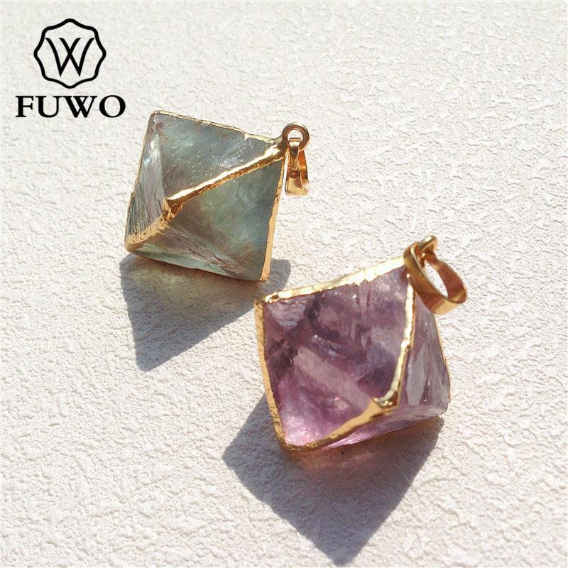 Pingente Em Forma de pirâmide de Fluorite esculpido de alta qualidade 24K Jóias de pedra gema de ouro, Pd079