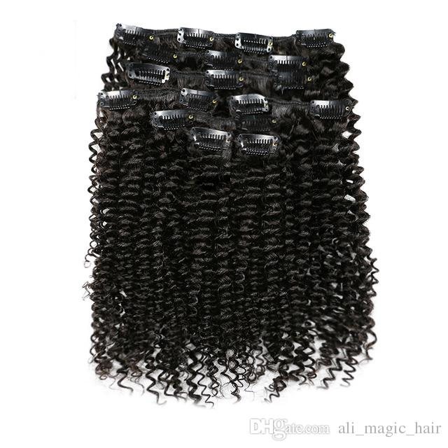 7Pcs/Set 120G Afro Kinky Curly Clip In Human Hair Extensions Peruvian Remy Hair Clip Ons 100% Human Natural Hair Clip Ins Bundle