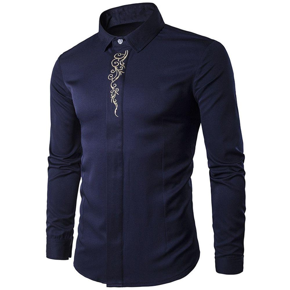 Camicia da uomo vintage Camicia da uomo in stile cinese con stampa floreale Camicie da ufficio uomo blu scuro