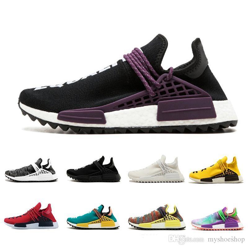 Дизайнер NMD человеческая гонка Pharrell Williams образец желтого ядра черный мужская женская мода спортивные носки обувь с коробкой