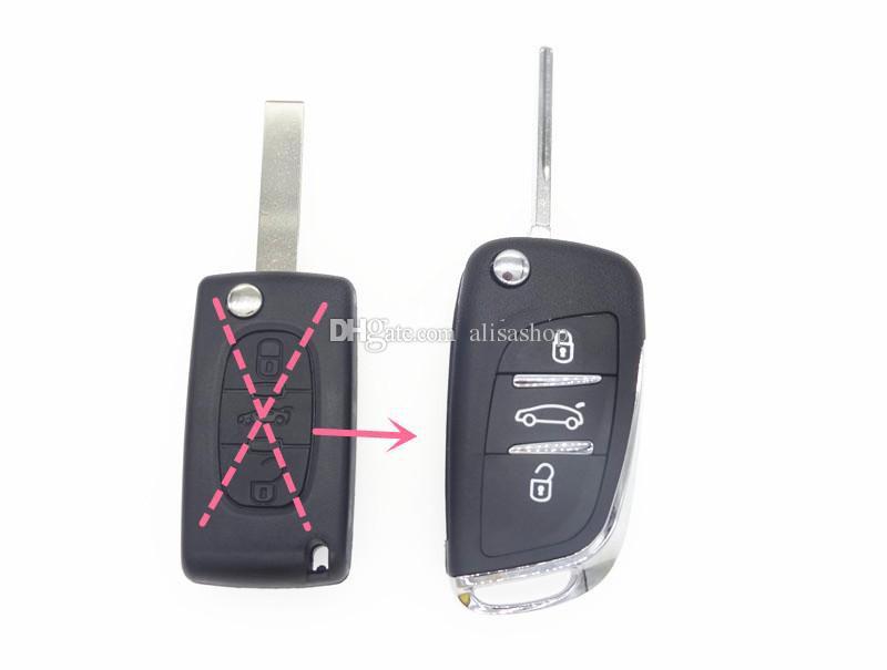 3 кнопки модифицированный флип дистанционного ключа автомобиля Shell для Citroen C2 C5 C6 C8 Xsara Picasso для PEUGEOT 406 407 408 308 307 107 207 VA2 режиссерский лезвие