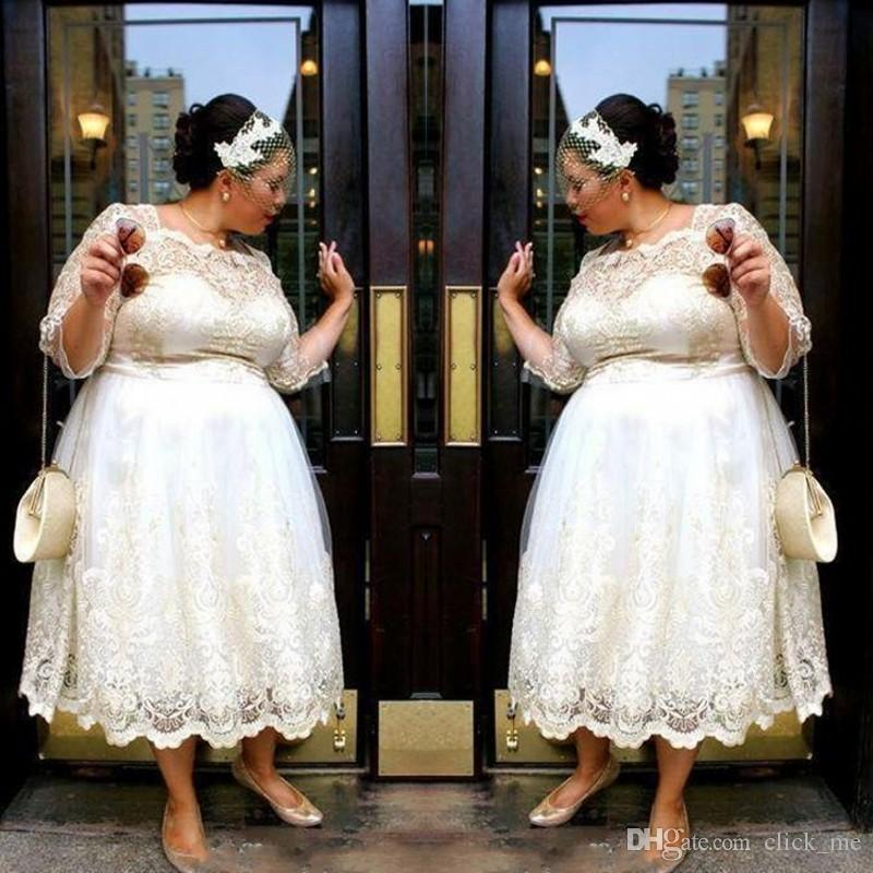Discount Plus Size Wedding Dresses With Half Sleeves A Line Tea Length Lace Wedding Dress Custom Made Country Style Bridal Gowns Discount Wedding