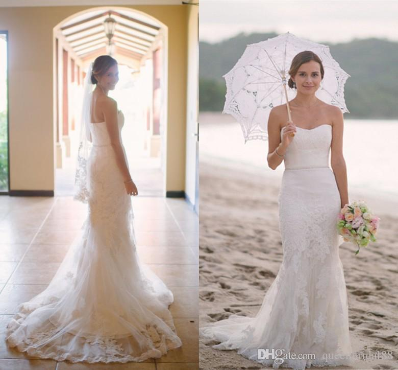 2018 Vestidos De Noiva De Praia Sereia Rendas Applique Querida Nupcial Do Vestido De Casamento Sem Mangas Longo Varredura Trumpet Vestido