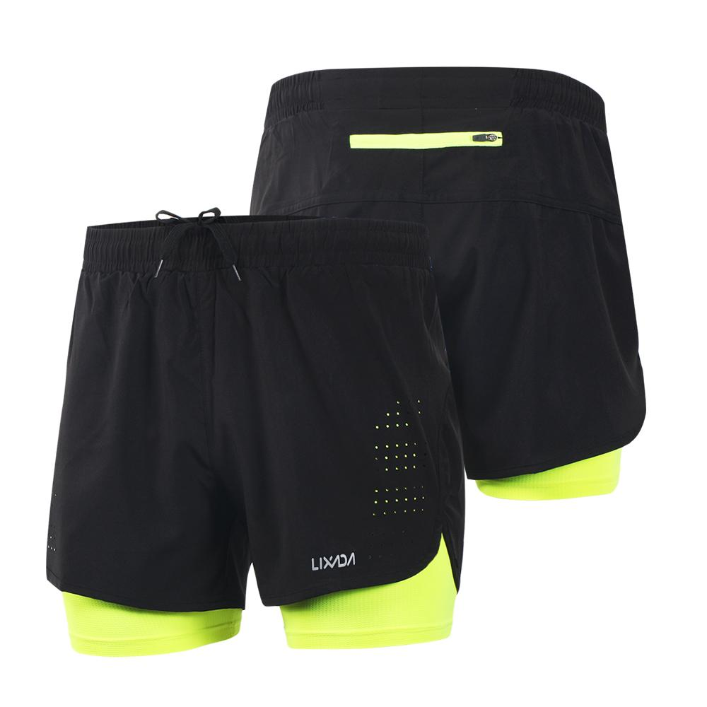 Lixada Men Sports Running Shorts Pants 2-in-1 Running Shorts Quick Drying Breathable Workout Fitness Gym Training Short