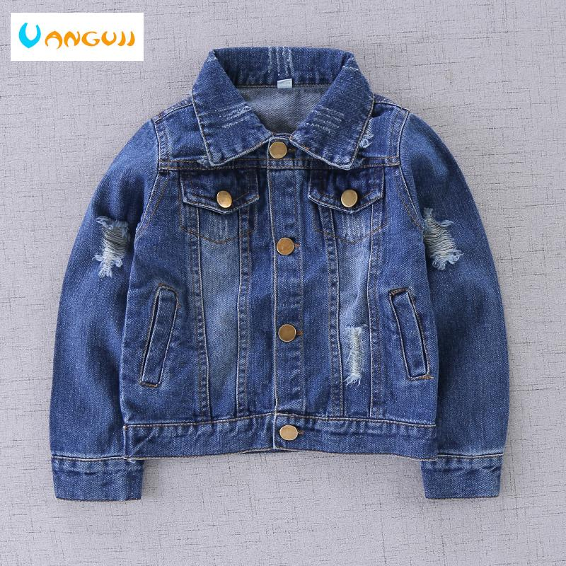 boys autumn coat denim jacket for kids 1-9 years old Washed stone hole short coat Metal buttons Soft treatment all match outwear Y18102607