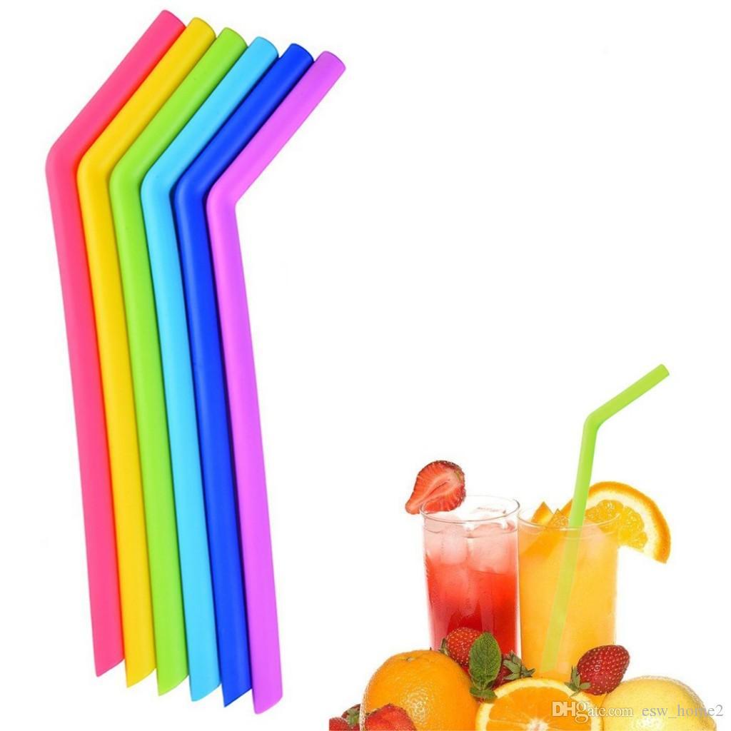 Силиконовые соломы многоразовые силиконовые гибкие сгиб смузи соломинки напитки магазин кухня экологически чистые красочные соломинки 6 цветов