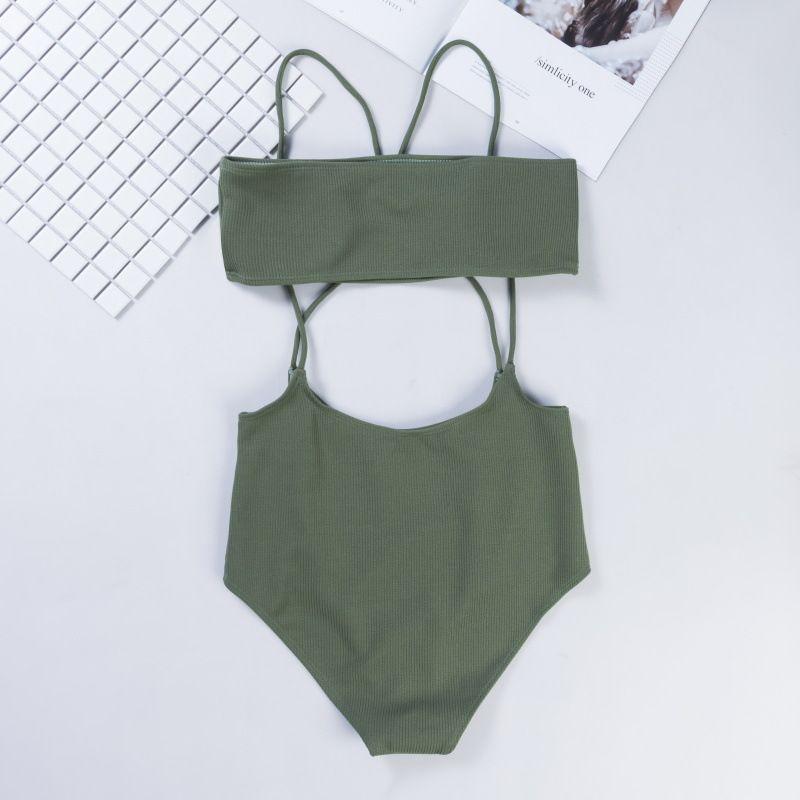 Nowe Kobiety Sexy High Waist Bikini Set Swimwear Push Up Spaghetti Paski Kitter Kitnitur Kąpiel Solid Beachwear Biquini Sex Apel