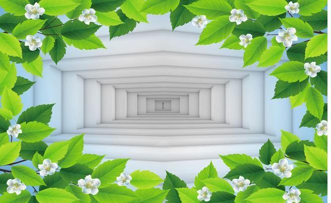 Encargo de la foto del papel pintado 3D estéreo original de fondo fresco hoja verde pintado a mano blanco de la flor 3D fondo minimalista pared de la TV Wal