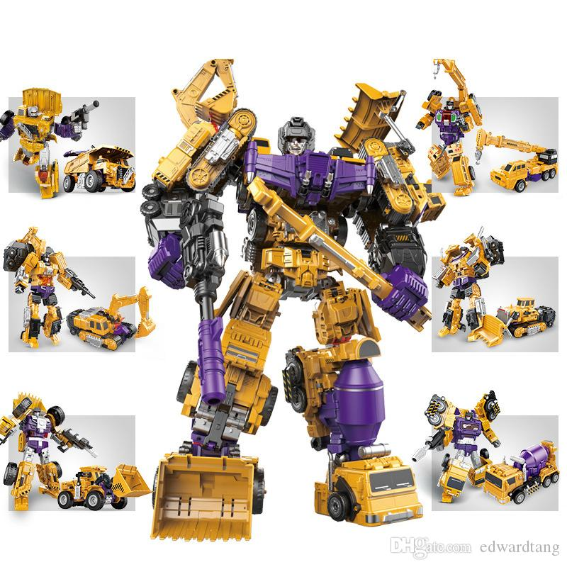 6 IN One Transformable Car& Robot Model Toy, Excavator, Crane, Tractor Shovel, Mixer Truck, Bolldozer, for Xmas Kid Birthday Boy Gift, 3-1