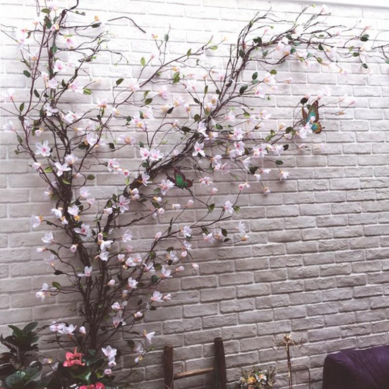 LIN MAN 2pcs/lot Artificial Magnolia Flower Vine Rattan Silk Fake Flowers Branch Fleur Arrange Table Wedding Home Decor Party accessory
