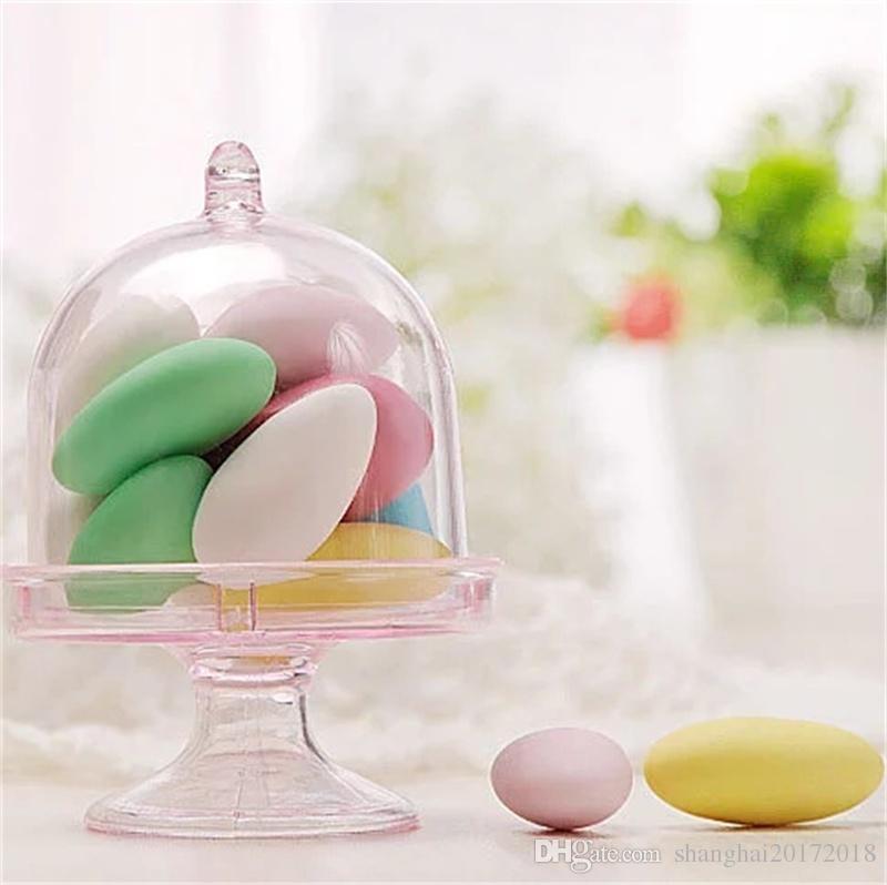 12pcs / lot Boîte à Desserts En Plastique Transparent Dessert Plateau À Gâteaux Boîte De Bonbons Au Chocolat Décoration D'anniversaire De Mariage Parti Fournitures