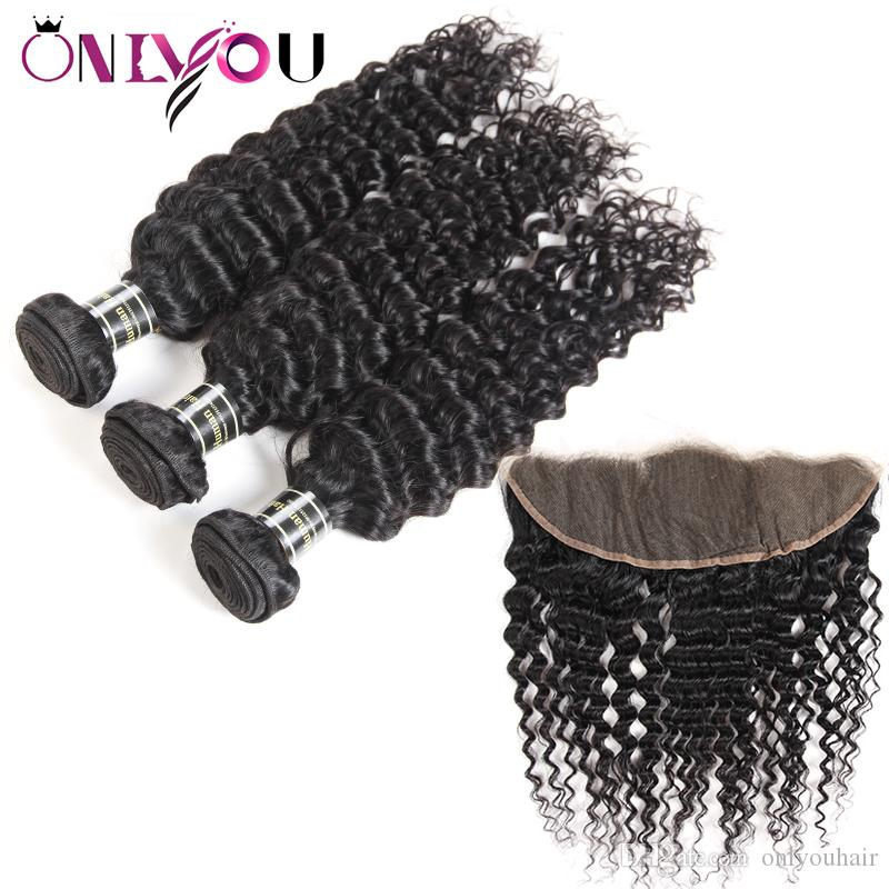 Raw Indian Virgin Human Hair Deep Wave Bundles with Frontal Brazilian Deep Wave Hair Extensions China Virgin Remy Curly Hair Weaves Supplies