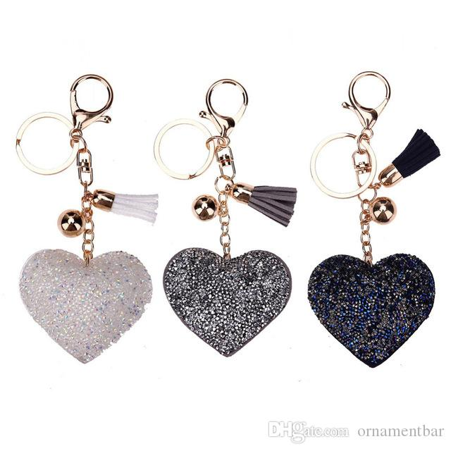 Lovely Cute Charming Bling Pendent Crystal Keychain Women Key Holder Car Key-ring Charm Gift Porta Chaves Valentine's Day Gift