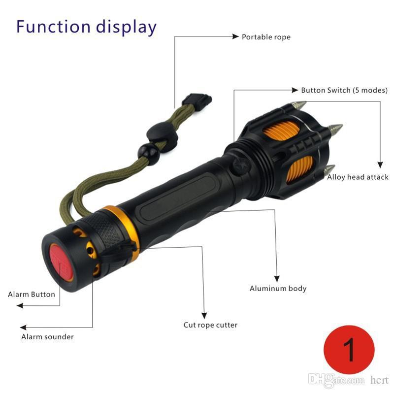 Nuevo LED multifunción 2000 lúmenes 5 modos Linterna LED CREE XML-T6 Antorcha Recargable Táctica Combate al aire libre anti lobo defensa Flashligh