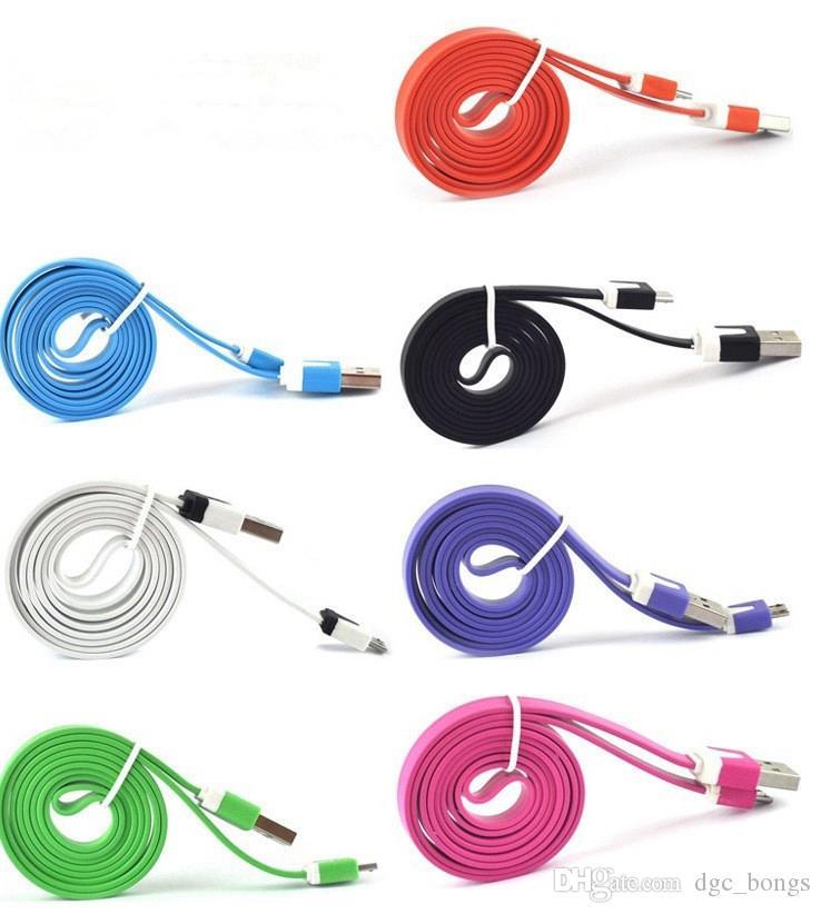 1m 3FT Flat Лапша зарядный кабель USB для Android Быстрое зарядное устройство кабель Micro зарядки Шнуры Аксессуары для мобильных телефонов для Samsung S5 S6 S7 DFW