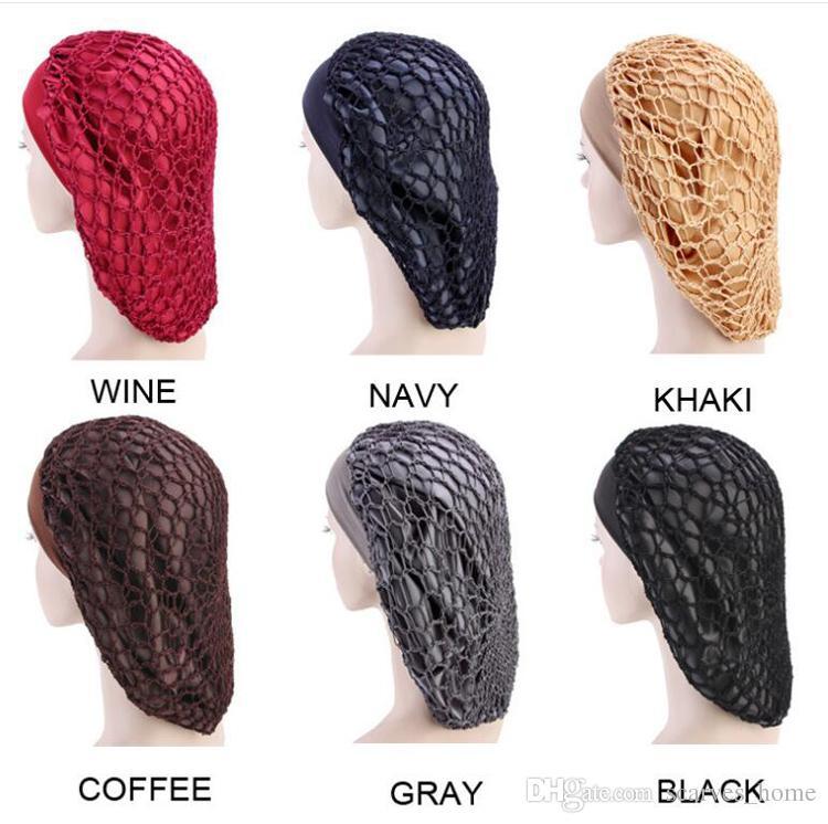 Women Headband New Satin Hair Net Cap Elastic Wide-brimmed Nightcap Chemo Hat MESH BONNET Hair Accessories Turban Caps 6 COlors