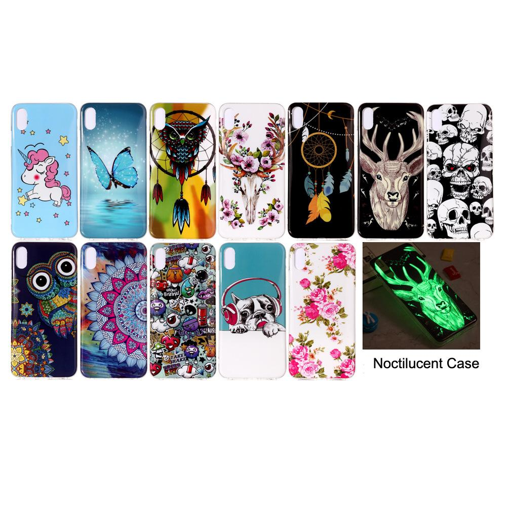 Mobile Phone Soft Strong TPU Back Case Cover Noctilucent at Night in Dark(30 Models for Option)