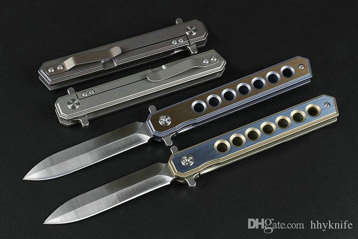 Special Offer 4 Handle Colors Flipper Folding Knife D2 Satin Blade CNC TC4 Titanium Alloy Handle Ball Bearing EDC Pocket Knives