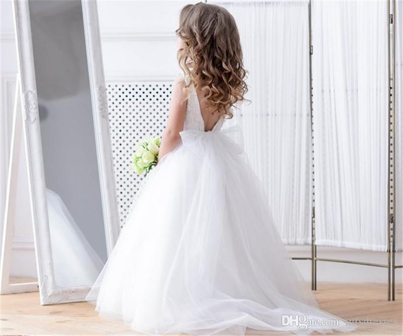 Princesse robe fille fleur blanche robe de bal filles de bal robes de danse V Retour Filles de fête d'anniversaire de mariage robe de fille Special Occasion Dress