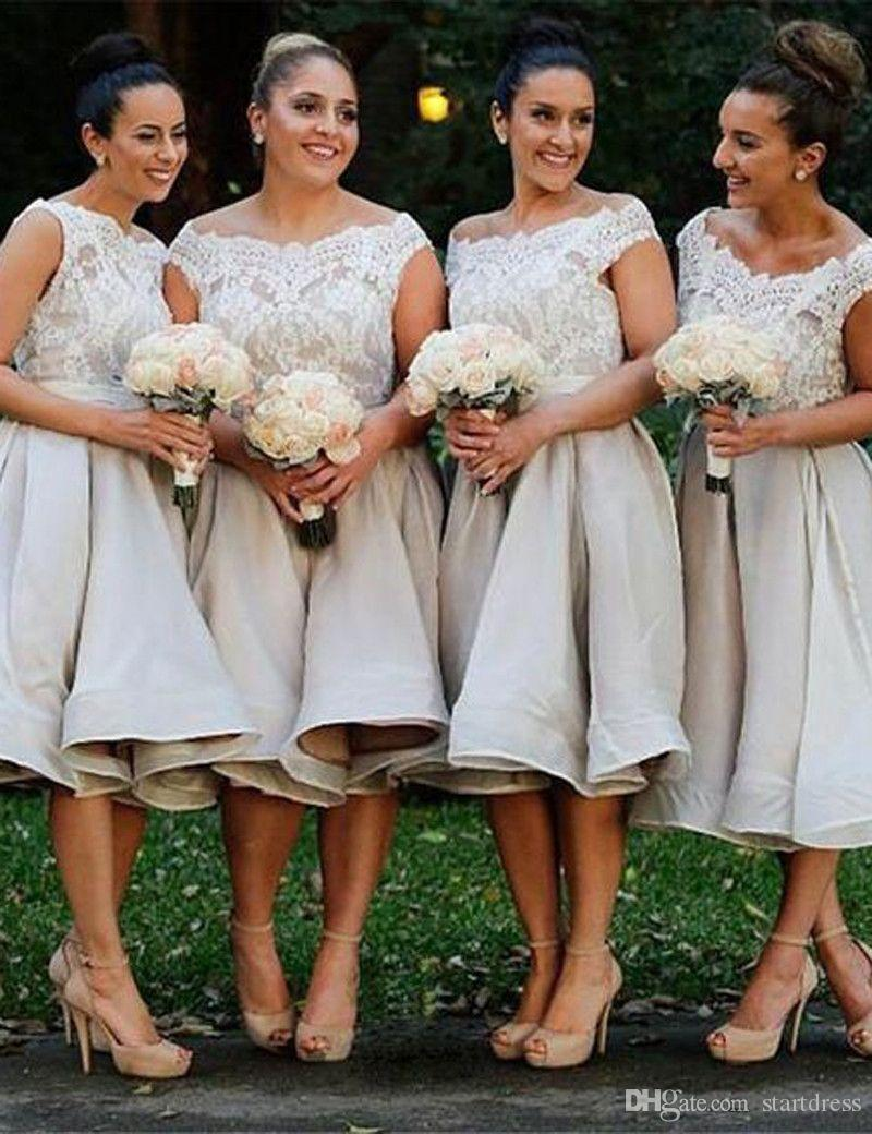 Modest Knee Length Short Country Bridesmaid Dresses Boat Neck Top Lace A Line Plus Size Maid Of Honor Wedding Party Prom Gowns 2018