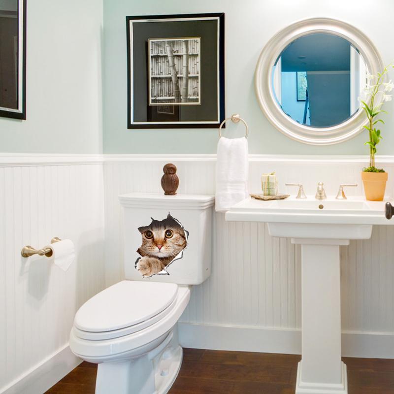 Großhandel 3D Katzen Wandaufkleber Auf Der Toilette Aufkleber Badezimmer  Wanddekoration Tier Vinyl Aufkleber Kunst Wand Poster WC Aufkleber ...