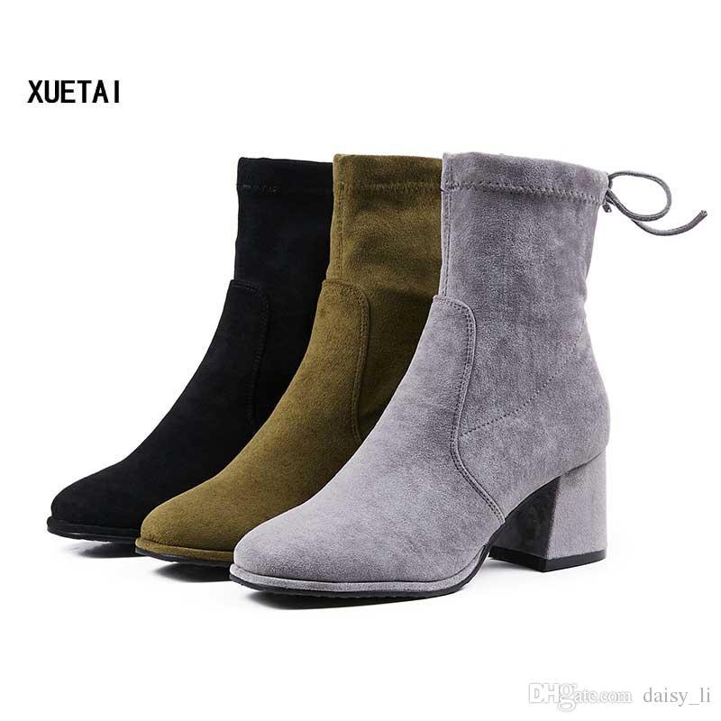 Женщины Зимние Сапоги Женщина Мода Лук Ботильоны Chaussure Женские Сапоги Грубый Каблук Botas Обувь #53