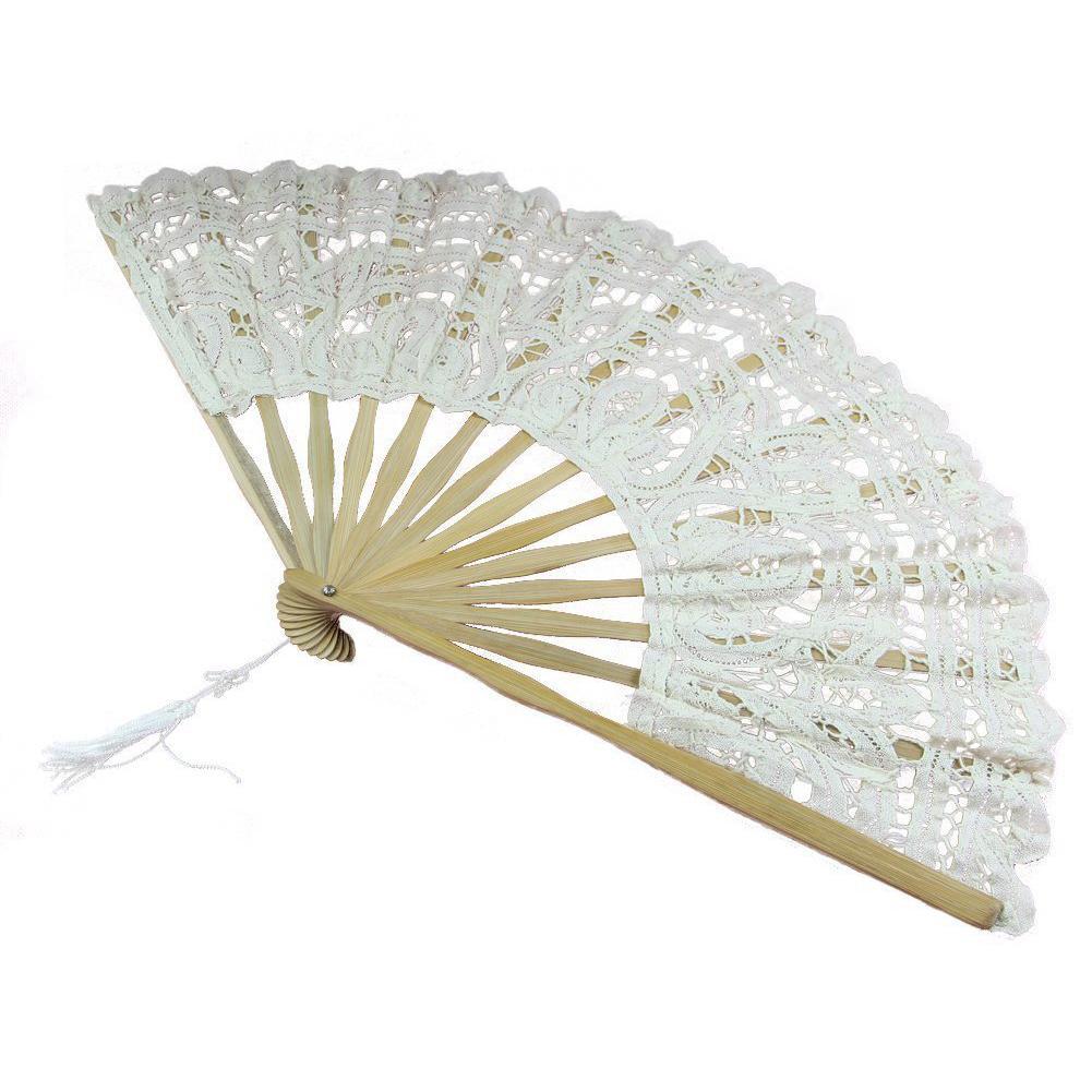 Ventilador de mano plegable de encaje de algodón hecho a mano TFBC para decoración de boda nupcial fiesta (blanco)