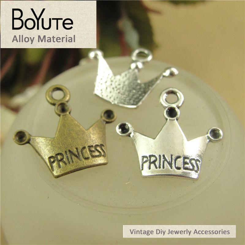 BoYuTe (100 Pieces/Lot) 19*17MM Antique Bronze Silver Plated Zinc Alloy Charms Princess Crown Pendants Diy Jewelry Accessories Wholesale