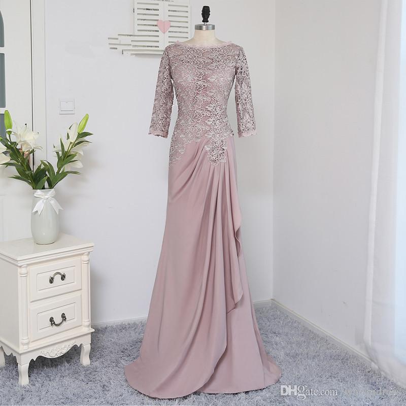 2018 waishidress rosa chiffon mãe da noiva vestidos de noiva mangas compridas rendas mãe do noivo vestidos bainha vestidos de noite