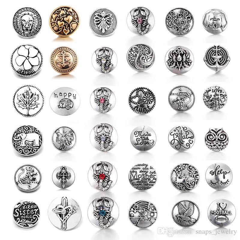 36 Style Noosa Snap gioielli Leone / modello di amore Bottoni automatici in lega Fit 18mm Bottoni a pressione con bottone Gioielli con braccialetti