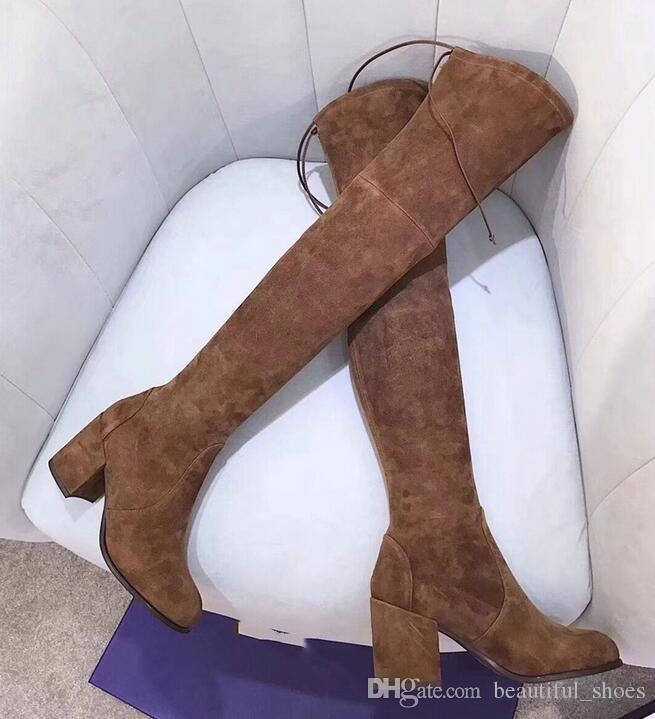 Botas de cuero real de alta calidad sobre la rodilla. Fondo grueso elástico alto para ayudar a los zapatos planos SW negro marrón con cordones