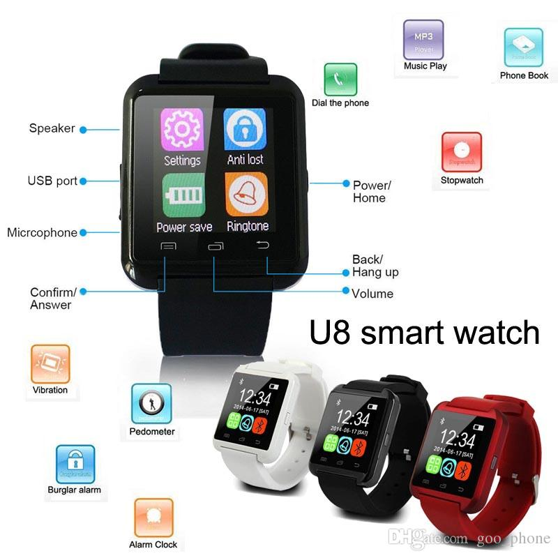 Bluetooth V4.0 U8 Smart Watch Remote Taking photo Pedometer Sleep monitor Wristwatch For man woman For iphone X 8 8Plus 7 7Plus sumsung