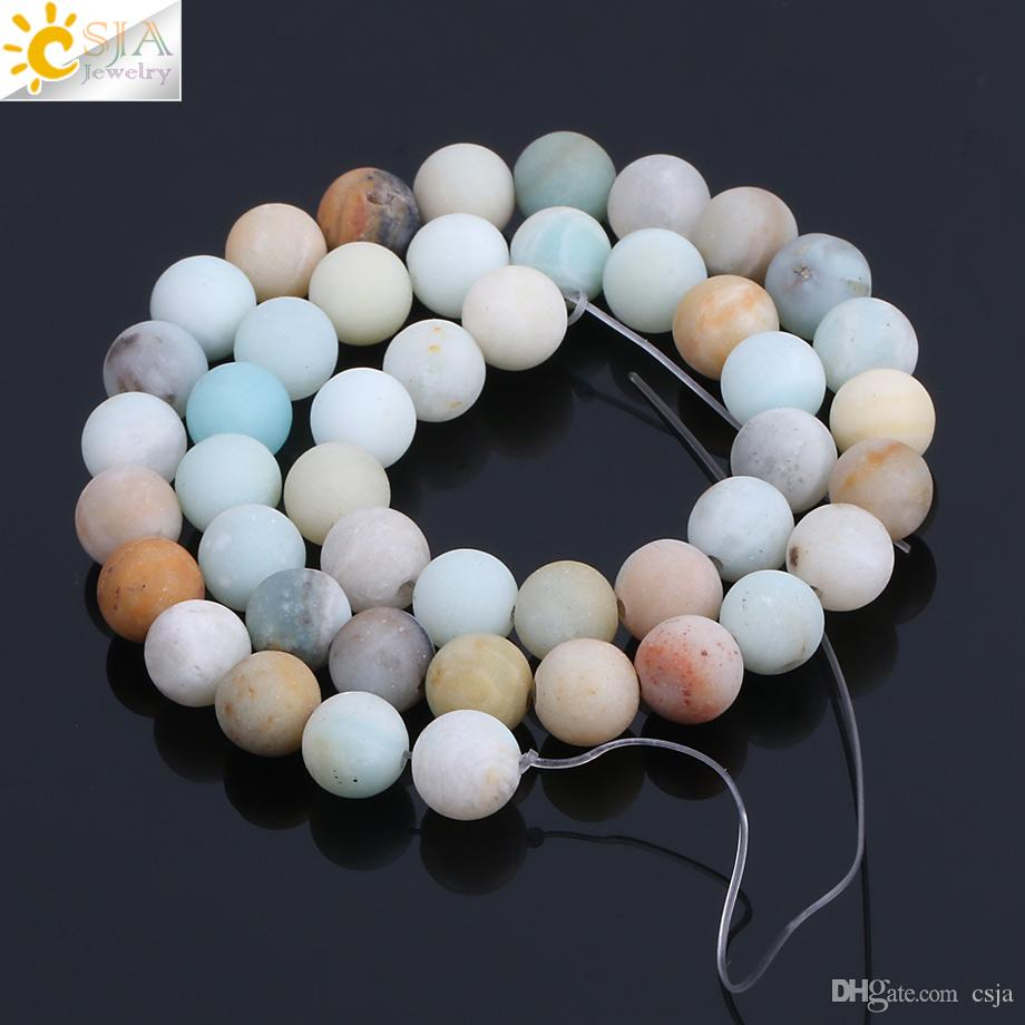 CSJA 46pcs Matte Natural Amazonite 8mm Round Gemstone Mala Loose Beads for Women Energy Healing Jewelry Making Handmade Jewellery DIY F195