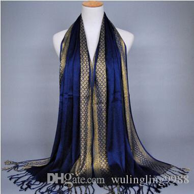 Bufanda de las mujeres Hilo de oro Impresión de la moda Borla de la borla de algodón Lurex Plaid raya chales Bufandas Bufanda musulmán largo Hijab 16 colores