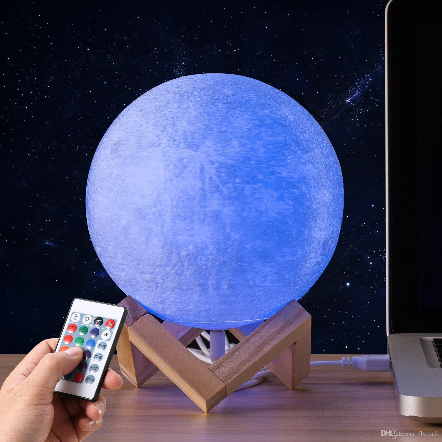 3D Print LED 16 Colors RGB Moon Light Lamp Valentines Gifts Decorative Lights Night Light with Remote&Touch Control USB Rechargeable