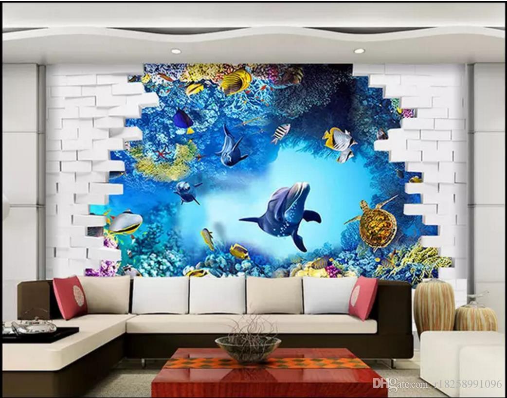 Personnalisé 3d photo murales papier peint 3D monde sous-marin chambre TV fond mur Home Interior Decor peintures murales fonds d'écran pour murs 3d