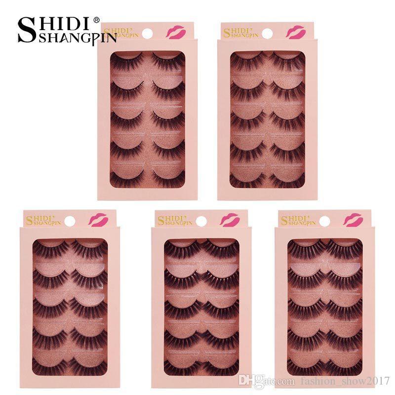 Shidishangpin 5 par 3D Mink rzęsy Makijaż Naturalne Fałszywe Rzęsy Ręcznie Made Mink Rzęsy Pełna Strip Lashes Fake Eye Lash