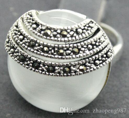 2 цвет довольно Белый Кошачий глаз камень опал марказит 925 стерлингового серебра кольцо размер 7-10