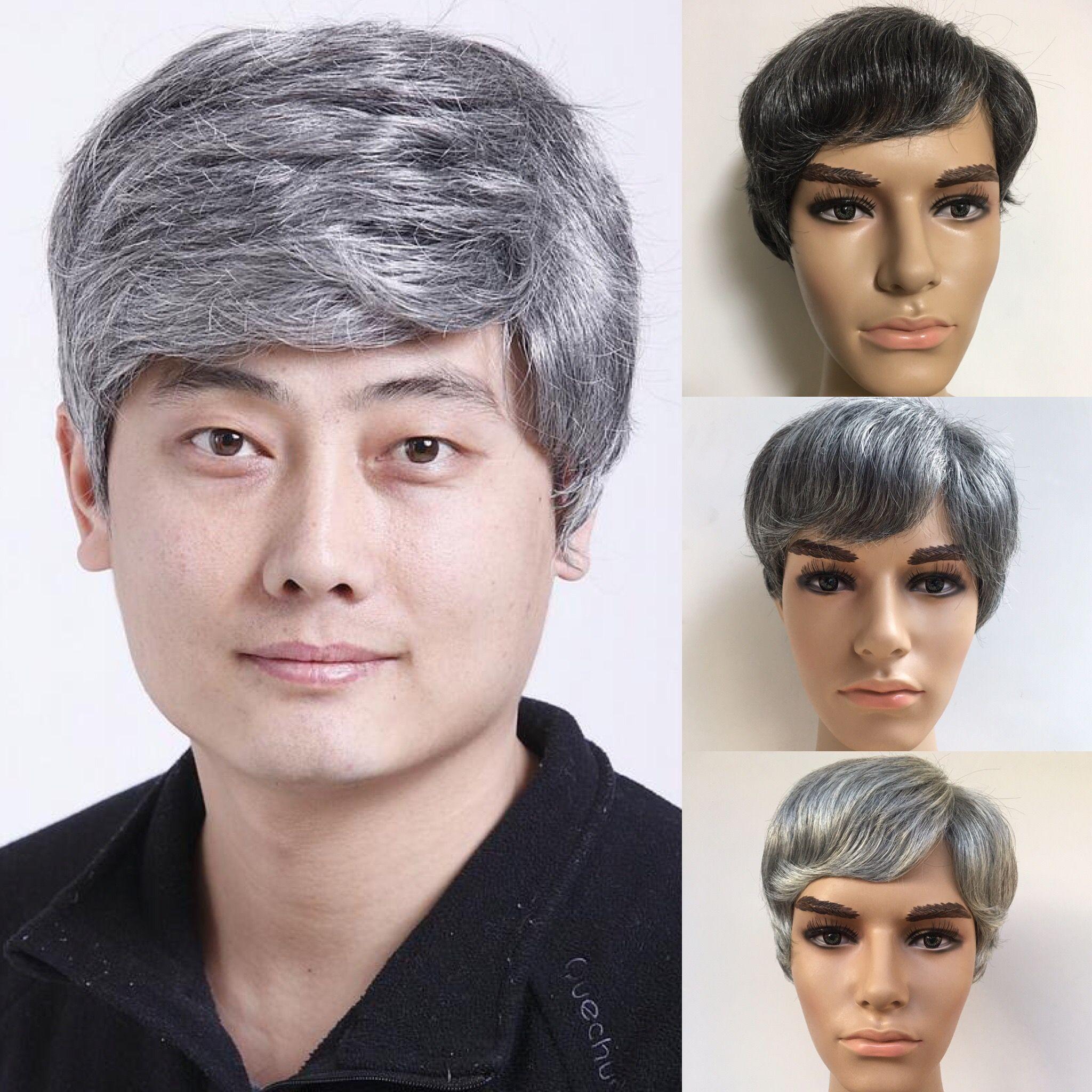 3 Couleurs Beaux Hommes Perruque Haute Qualité Gris Couleur 10 pouces Péruvien Vierge Cheveux Raides Pour Les Hommes Noirs Livraison Gratuite