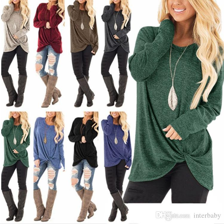 Women Long Sleeves Solid Round Neck T-shirts Autumn Spring New Twist Knot Shirts Tops Outwear Home Clothing 11 Colors LDH212