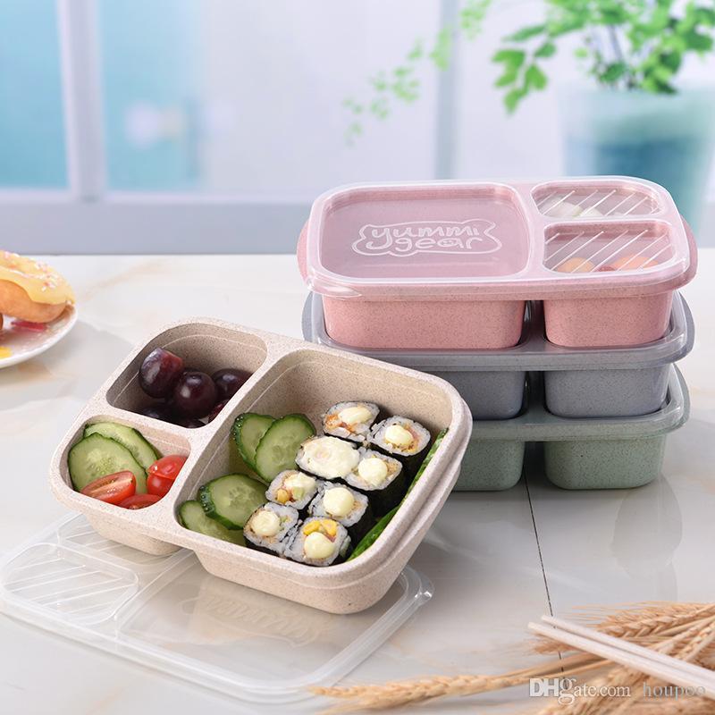 Toptan 3 ızgara Buğday Samanı Bento Kutusu kapaklı öğle yemeği Öğrenci Öğle Yemeği Kutuları Kutusu Yemek Tabakları Ev Gereçleri Mutfak Aksesuarları