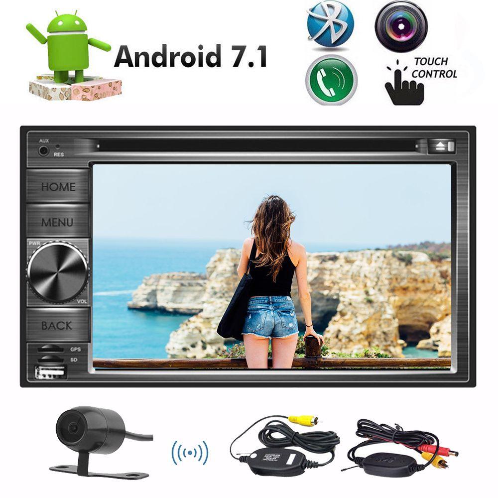 Yedek Kamera + Octa Çekirdek 2 GB + 32 GB Android 7.1 Araba DVD CD Çalar 6.2 '' 1024 * 600 HD Ekran Doule Din Araba Stereo GPS Navigasyon Bluetooth