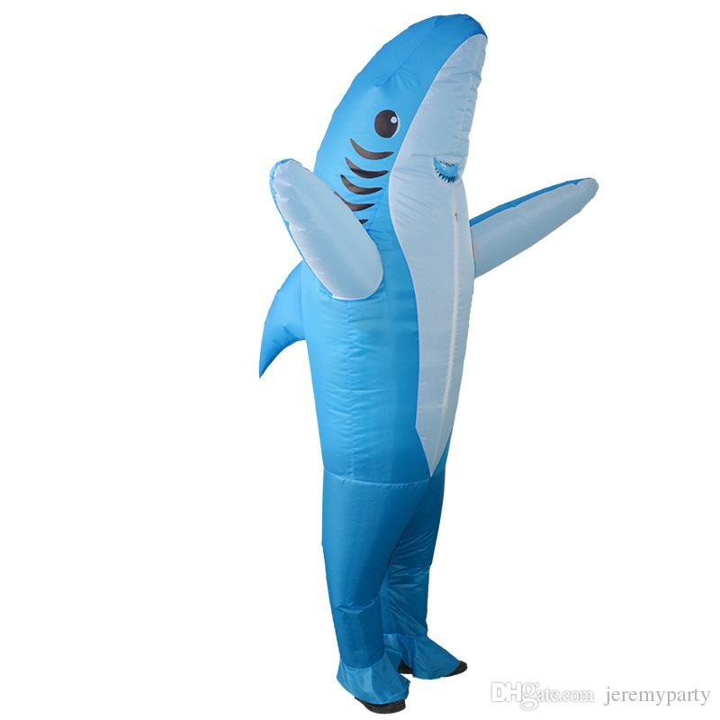 Funny Inflatable Costume Blow up Costume Shark Game Fancy Dress Halloween Jumpsuit Cosplay Outfit Gift,Adult