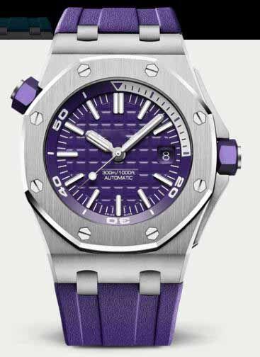 2019 핫 남성 시계 2813 자동 블루 다이얼 15710ST 블루 고무 시계 스포츠 방수 다이버 Wristwatche의 42mm DP 공장