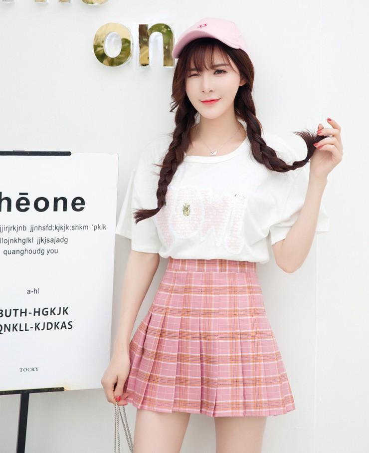 Fashion Summer Skirt Women 2018 Ete Skirts Casaul Pleated Ladies Skirts High Waist Mini Skirt Female Skirt Plaid Saia Jupe Femme (1)