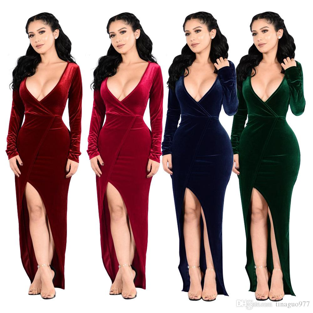 big sale many styles fashion style 2019 Velvet Maxi Dresses With High Split For Women Christmas Evening Party  Deep V Neck Long Dress From Tinaguo977, $13.57   DHgate.Com