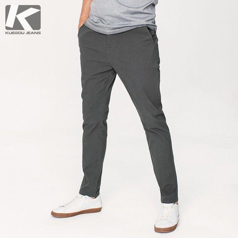 Autunno Pantaloni casual da uomo in cotone tinta unita Tasca a colori per uomo Moda Slim Fit 2018 New Uomo Wear Pantaloni lunghi dritti 9449