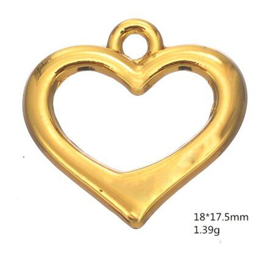 Rodio o color dorado Abierto de corazón romántico Encantos Otras joyas personalizadas